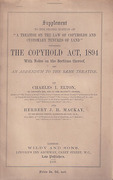 Cover of Supplement to the Second Edition of A Treatise on the Law of Copyholds and Customary Tenures of Land